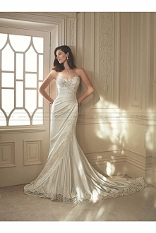Sophia Tolli Style Y11642 - Morrigan Strapless asymmetrically draped shimmer satin fit and flare sweetheart wedding gown USD$449.00 (56% off) 2016 wedding dress,cheap wedding dr...