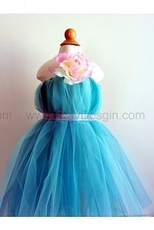 Beautiful Flower Girl Dress, Tutu Dress, Turquoise with Delicate Oversized Pink and Cream Flower