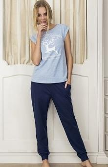 Esotiq Dakar 33584-55X komplet niebieski Komfortowa dwuczęściowa piżama, nieb...