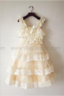 Champagne Tulle Lace Rustic Flower Girl Dress/Communion/Baptism/Junior Bridesmaid Dress/Baby Girl Dress/Cupcake Dress