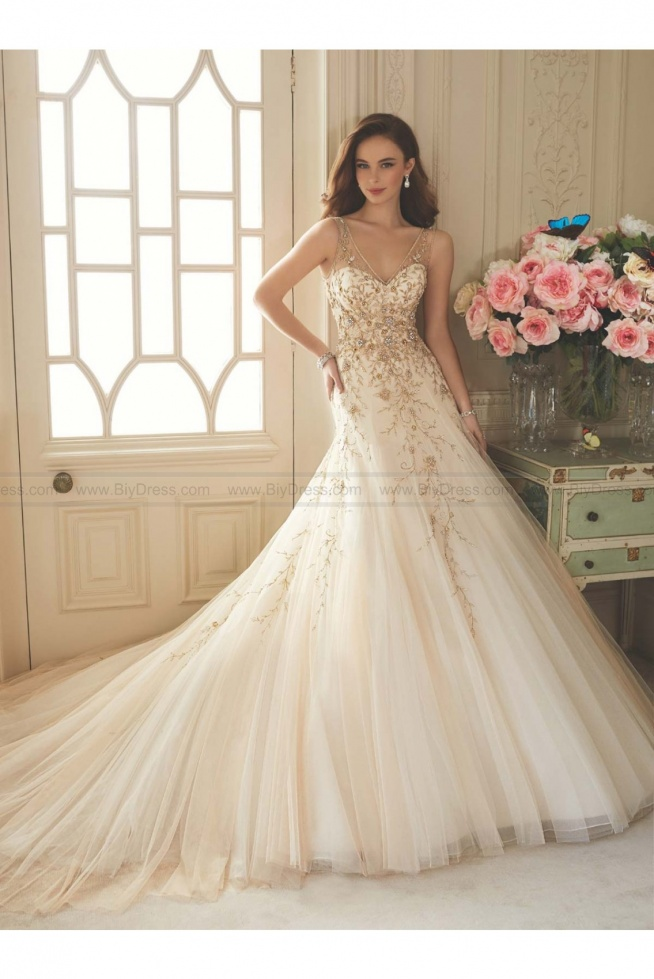Sophia Tolli Style Y11650 - Darice Sleeveless embroidered misty tulle full A-line wedding gown  USD$559.00 (46% Off)  2016 wedding dress,cheap wedding dresses online,plus size wedding dresses,wedding dress for sale,wedding dress prices