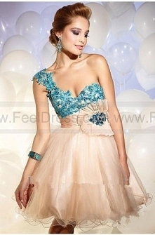 Ball Gown A-line One Shoulder Sweetheart Tulle Cocktail Dress  $114.99  2016 Cocktail Dresses,plus size Cocktail Dresses,cheap Cocktail Dresses,Cocktail Dress prices,Cocktail Dr...
