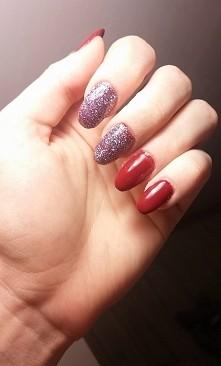 manicure hybrydowy, brokat