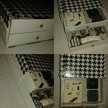 Takie zabawy w robienie pudełeczka na biżuterię z dna pudełek od puzki i okle...