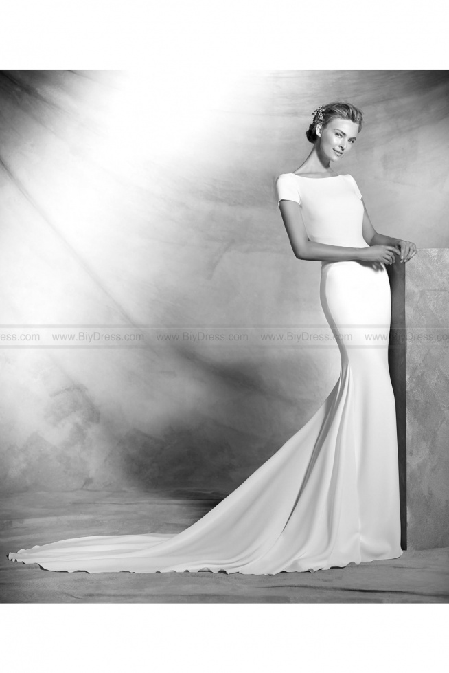 2016 Atelier Pronovias Style Valeria Simple crepe mermaid wedding dress  USD$439.00 (55% Off)  2016 wedding dress,cheap wedding dresses online,plus size wedding dresses,wedding dress for sale,wedding dress prices
