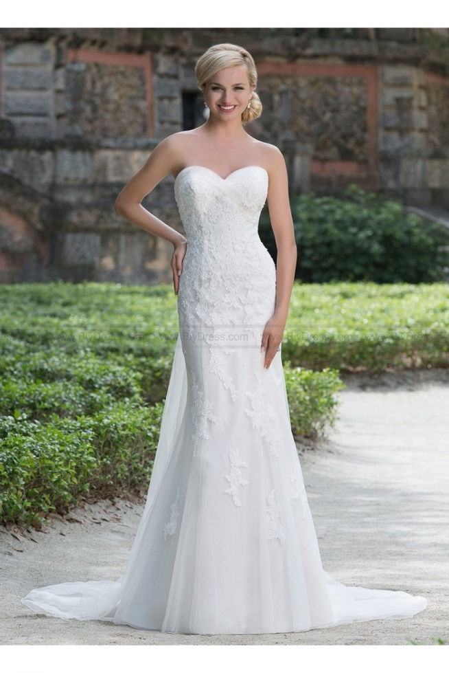 Sincerity Bridal Wedding Dresses Style 3876 romantic lace and tulle fit and flare wedding gown  USD$429.00 (56% Off)  2016 wedding dress,cheap wedding dresses online,plus size wedding dresses,wedding dress for sale,wedding dress prices