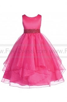 A-Line Scoop Neck Ankle-Length Organza Satin Pageant Dress