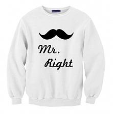 bluza dla par zakochanych z nadrukiem MR RIGHT  z kompeltu BLUZY MR ALWAYS RI...