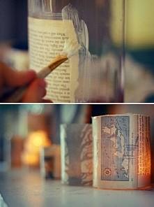 lampioniki że słoika, obklejone wycinkami z gazety