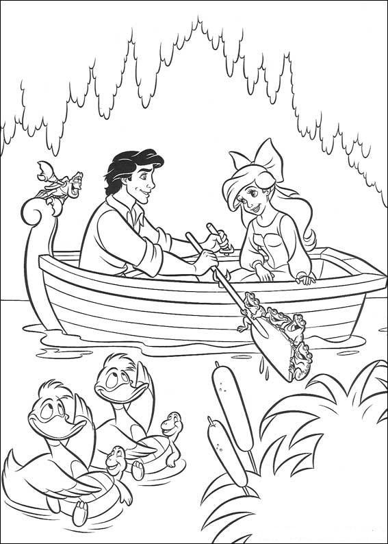 Kolorowanki z bajki Syrenka Ariel  dla dzieci