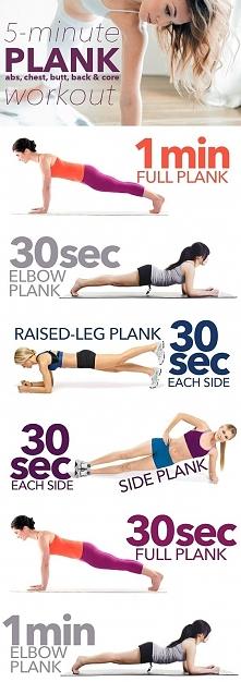 5- minutowe ćwiczenia PLANK ❤️   6 ćwiczeń i 5 minut treningu na wymodelowaną...