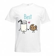 Fajna koszulka przyjaźni - bluzka dla przyjaciół z nadrukiem BEST mleko i cia...