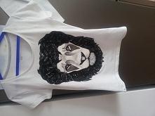 koszulka ręcznie malowana lew