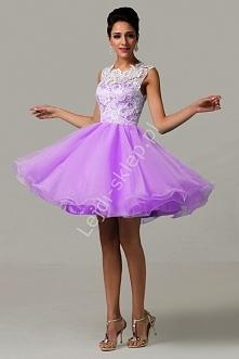 Sukienka na wesele / studniówkę z koronką - fiolet