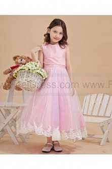 Fit Perfectly Applique Pink Flower Girl Dresses