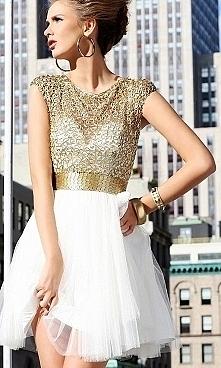 biało złota sukienka ♥ zawsze pięknie wygląda ♥
