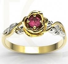 Pierścionek w kształcie róży z rubinem i brylantami