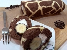 Rolada żyrafa banan w czekoladzie