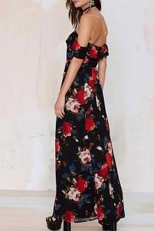 sukienka maxi z odsłoniętymi ramionami carmen ♡ sklep → klik w zdjęcie!