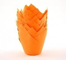 Papilotki woskowane do muffinów, w kształcie tulipanów (20 sztuk), pomarańczowe - Chevler