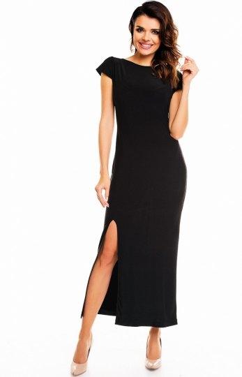 Awama A136 sukienka czarna Elegancka długa sukienka, dekolt