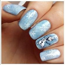 zimowe paznokcie z Olafem :)