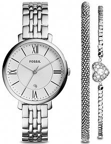 zegarek Fossil ES3698SET, bransoletka z serduszkiem w komplecie, srebrny zestaw w pudełku - idealny na prezent