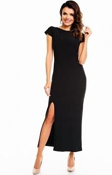 Awama A136 sukienka czarna Elegancka długa sukienka, dekolt łódka, krótki rękaw