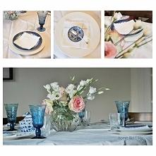 Aranżacja stołu w kolorach blue and white - homelikeilike.com