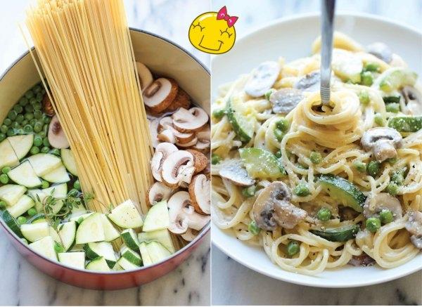 MEGA PYSZNY obiad JEDNOGARNKOWY w 20 min!!! Składniki: spaghetti , pieczarki (pokrojone w cienkie plasterki), 2 cukinie (pokrojone w cienkie plasterki i ćwiartki), 2/3 szklanki groszku, 2 ząbki czosnku, 2 gałązki tymianku, sól i świeżo zmielony czarny pieprz do smaku, 1/3 szklanki startego parmezanu, 1/4 szklanki śmietany kremówki. W garnku na średnim ogniu, połączyć spaghetti, pieczarki, cukinię, groszek, czosnek, tymianek i 4,5 szklanki wody. Doprawić solą i pieprzem do smaku. Doprowadzić do wrzenia; zmniejszyć ogień i gotować bez przykrycia, aż makaron będzie miękki a woda odparuje...Wymieszać z parmezanem i śmietaną kremówką. Podawać natychmiast.