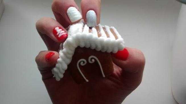 Moje świąteczne Paznokcie Semilac Intense Red I Diamnd Ring Na