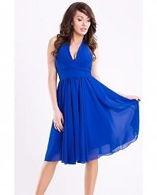 Rozkloszowana sukienka wiązana na szyi. Kobaltowa.