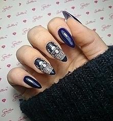 Zimowy wzorzysty manicure :)