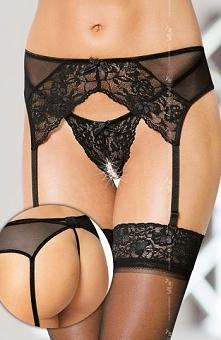 Softline 3317 komplet czarny Niezwykle seksowny komplet, koronkowy pas do poń...