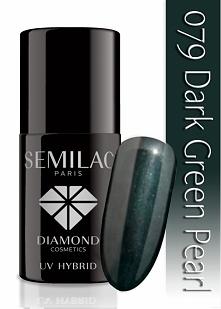 Lakier hybrydowy Semilac 079 Dark Green Pearl - 7 ml. Głęboka zieleń z nutką ...