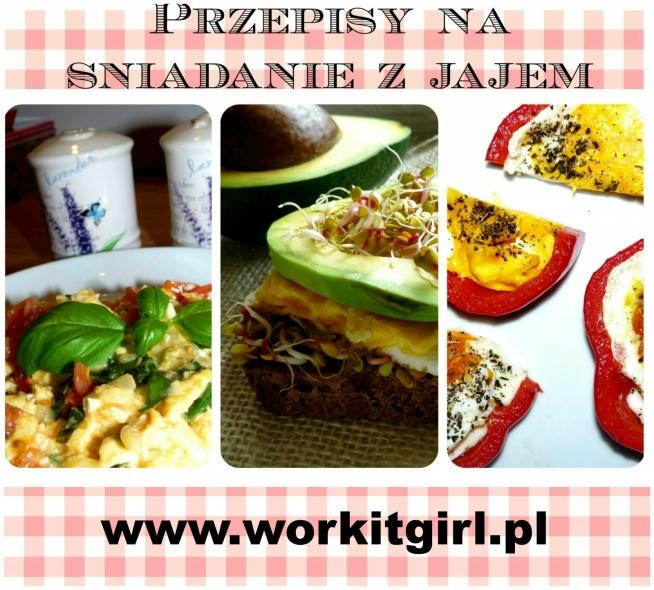 Trzy przepisy na śniadanie z jajem na workitgirl.pl. Przepisy po kliknięciu w zdjęcie!  1. Jajecznica z bazylią i pomidorami 2. kanapka z jajkiem sadzonym, awokado i kiełkami 3. jajko w papryce