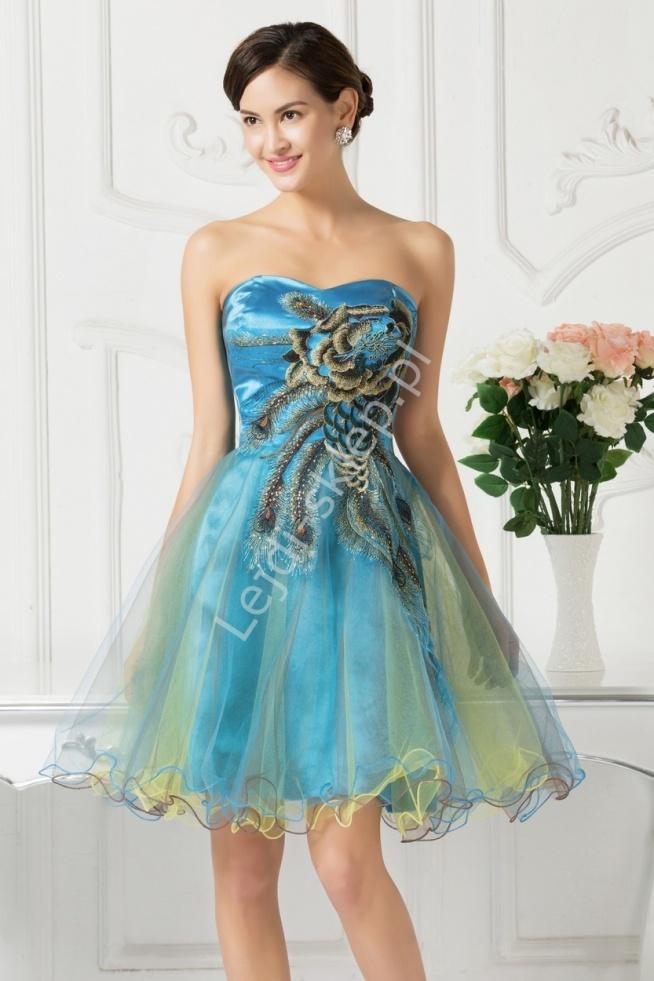Błękitna sukienka z haftami | sukienki na wesele, studniówkę,połowinki