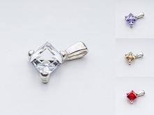 Wisiorek srebrny 925 Swarovski Cube 6mm 12 kolorów do wyboru materiał: srebro...