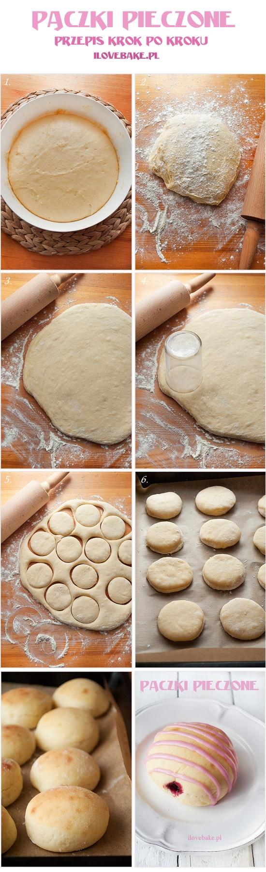 PĄCZKI PIECZONE W PIEKARNIKU  SKŁADNIKI NA CIASTO: ILOŚĆ: około 12-15 szt. 3 szklanki mąki tortowej 14 g drożdży świeżych lub 7 g suchych 1/4 szklanki wody, ciepłej 1 jajko, całe 2 żółtka 3/4 szklanki mleka, ciepłego 1/4 szklanki cukru 1 łyżeczka cukru waniliowego 2 łyżki masła lub margaryny, roztopionej 2 łyżki oleju szczypta soli  DODATKOWO: dżem do nadziewania cukier puder do oprószenia lukier porzeczkowy ( 1 szklanka cukru pudru, 2 łyżki gorącej wody, 2 łyżki dżemu porzeczkowego przeciśniętego przez gęste sitko) lukier i wiórki kokosowe ( 1 szklanka cukru pudru, 2 łyżki gorącej wody, kilka kropel soku z cytryny, 1 szklanka wiórków kokosowych ) czekolada i kajmak ( 1 puszka kajmaku, 1/2 tabliczki gorzkiej czekolady, pokrojone drobno orzeszki ziemne, niekoniecznie )   Do niedużej miseczki wsypujemy drożdże suche lub świeże, zalewamy ciepłą wodą oraz dodajemy łyżeczkę cukru. Chwilę mieszamy, zawijamy folią i odstawiamy na ok. 10-15 min do wyrośnięcia. Mąkę przesiewamy do dużej miski razem z solą. Dodajemy wyrośnięty rozczyn drożdżowy, ciepłe mleko oraz jajka, żółtka ukręcone z pozostałym cukrem na kogel mogel. Chwilę wyrabiamy, następnie dodajemy rozpuszczone masło. Ponownie wyrabiamy przez około 5 min. Na koniec dodajemy olej i wyrabiamy do wchłonięcia. Ciasto powinno być raczej klejące i przywierające do dłoni, ale nie mocno. Miskę z ciastem przykrywamy folią i odstawiamy w ciepłe miejsce do podwojenia objętości ok. 1,5 godz. Napuszone ciasto wykładamy na dosyć obficie oprószoną mąką stolnicę. Rozwałkowujemy ciasto na grubość około 1,5 – 2 cm. Za pomocą szklanki lub okrągłej foremki o śr. 6 cm wykrawamy pączki. Bardzo delikatnie przekładamy na blaszkę wyłożoną papierem do pieczenia w niewielkich odstępach od siebie. Przykrywamy folią lub ręcznikiem kuchennym i odstawiamy na 30 min do napuszenia. Pieczemy w temp. 200 C przez około 5-7 min do lekkiego zarumienienia. Uwaga: jeśli zaczną pękać podczas pieczenia nie trzymaj ich dłużej w piekarniku. Jeszcze ciepłe nadz