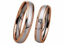 Klasyczny duet obrączek ślubnych z białego palladowego i różowego złota z lśniącym oczkiem - GRAWER W PREZENCIE