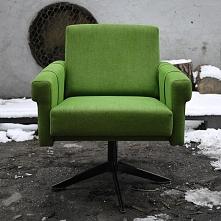 Zielony, obrotowy fotel