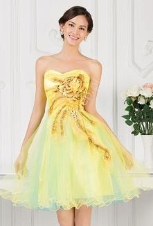 Gorsetowa sukienka tiulowa z haftem na wesele żółta