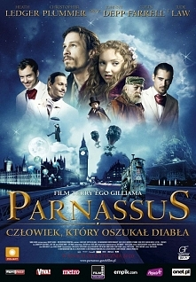 Doktor Parnassus wystawiający w różnych częściach Londynu przedstawienie umoż...