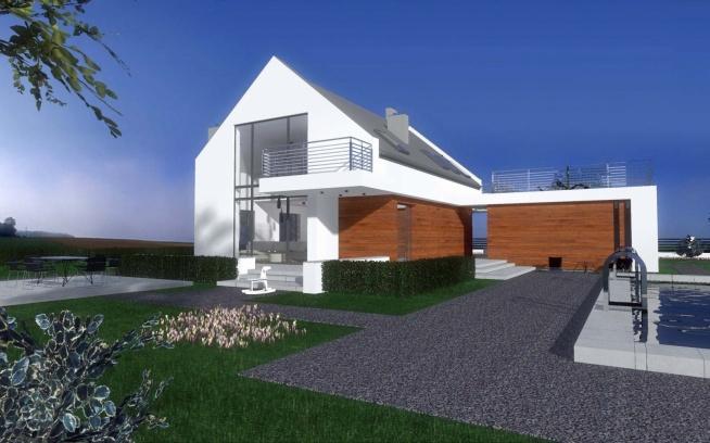 Nowoczesny i przestronny dom z basenem - projekt wykonany przez architektów wnętrz z biura projektowego Mobiliani Design z Bydgoszczy.
