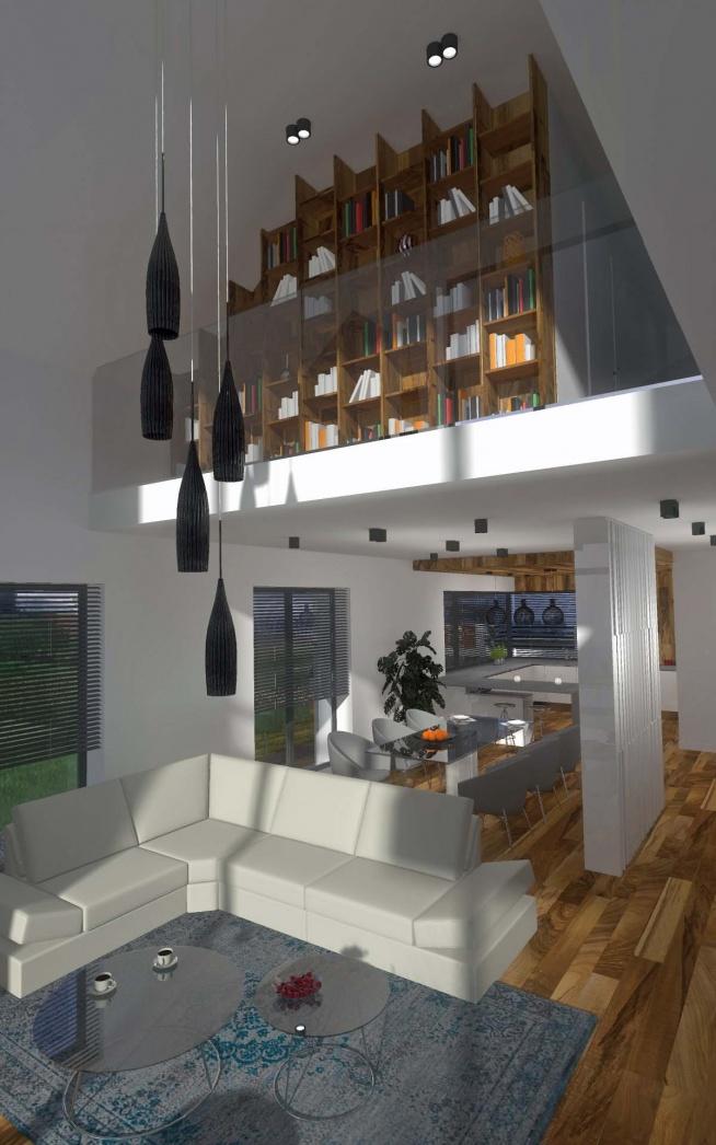 Jedna z koncepcji salonu we wnętrzach domu w stylu nowoczesnym. Na górze znajduje się biblioteka.