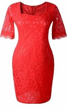 Sukienka koronkowa w stylu Kate Middleton, czerwona midi