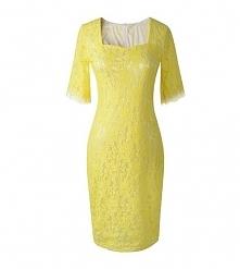 Sukienka koronkowa w stylu Kate Middleton, żółta midi