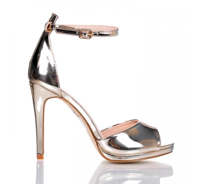2b27933a129e46 Złote wieczorowe sandały Srebrne sandały na obcasie na zgrabne.. na ...