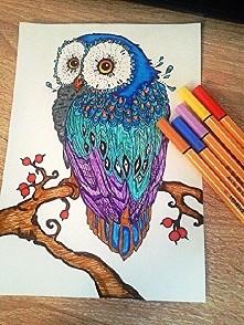 Owl A5 Color ballpen drawing