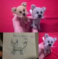 Szydełkowe kotki według projektu małej Ani :D